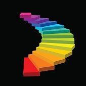 Spiral staircase. Isolated on black background.3d Vector colorful illustration.