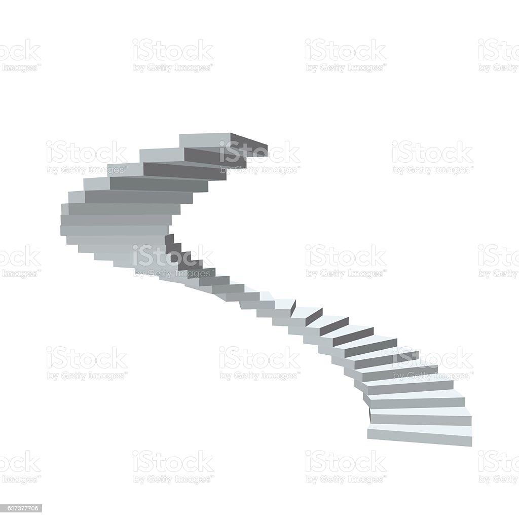 Spiral staircase. Isolated on white background. spiral staircase isolated on white background vecteurs libres de droits et plus d'images vectorielles de blanc libre de droits