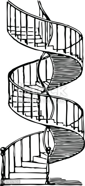Vector drawing of the old spiral staircase.