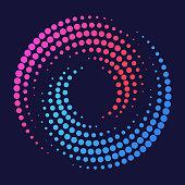 Circle spiral swirl dot halftone dot design element symbols.