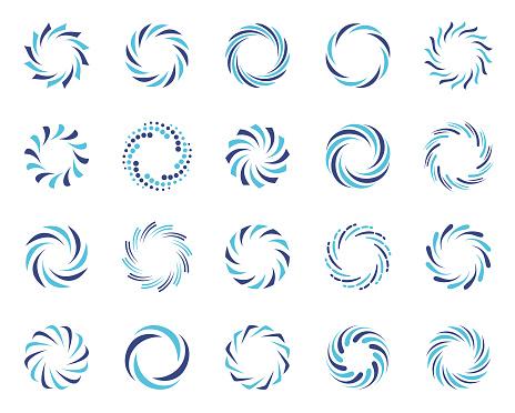 Spiral swirl symbols set