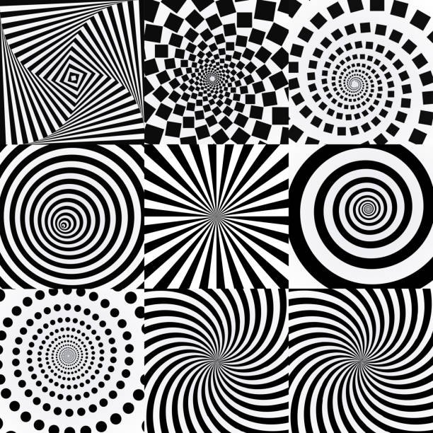 spiral with vortex effect. twisted futuristic effects. - spiral stock illustrations