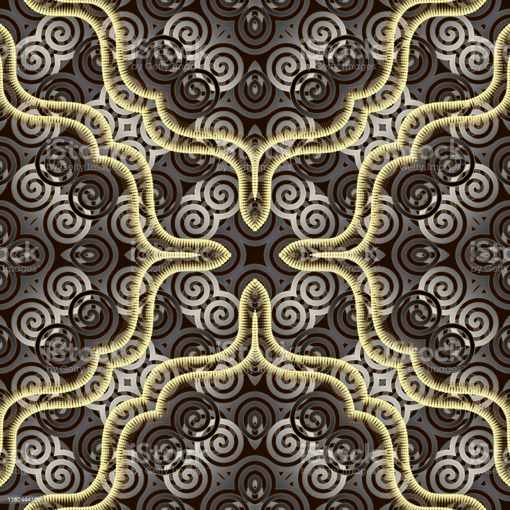 spirals ornamental 3d seamless pattern modern patterned background vector id1162444120