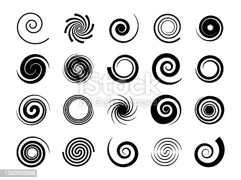 Spirals. Twisted swirl, circle twirl and circular wave elements, psychedelic hypnosis symbols, black geometric digital drawing, vector set of round graphic spin shapes