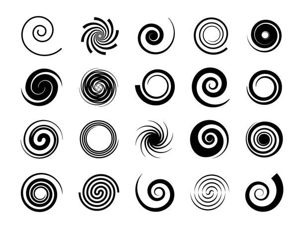 spirals. twisted swirl, circle twirl and circular wave elements, psychedelic hypnosis symbols, black geometric digital drawing, vector set - спираль stock illustrations