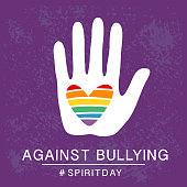 Spirit day violet, purple color poster, with rainbow heart in hand. Against bullying.