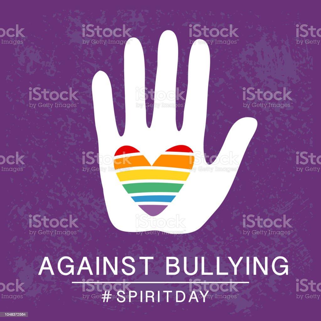 Espíritu violeta día, afiche de color púrpura, con corazón de arco iris en la mano. Contra la intimidación. - ilustración de arte vectorial