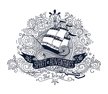 Spirits of adventures banner over a hand drawn ship