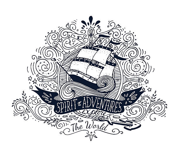 Spirits of adventures banner over a hand drawn ship vector art illustration