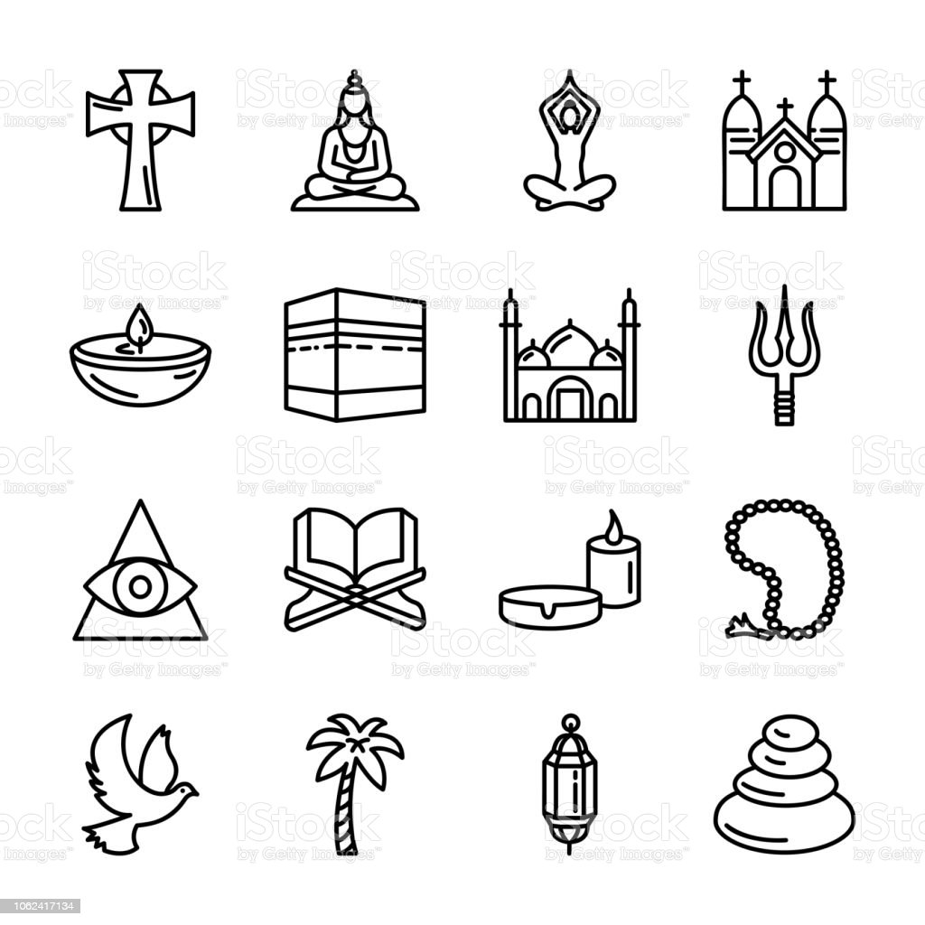 Spiritual Elements Icons Set vector art illustration