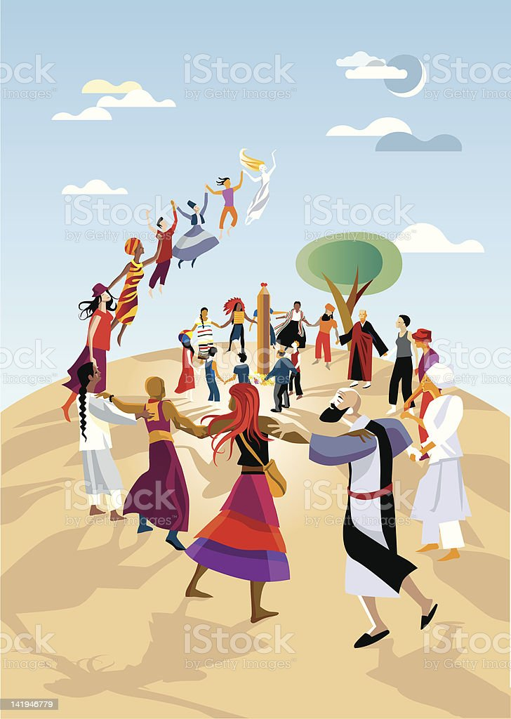 Spiritual Group in a Ceremony royalty-free stock vector art