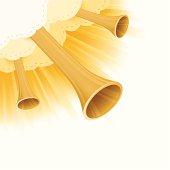 Horns from heaven corner graphic design element.