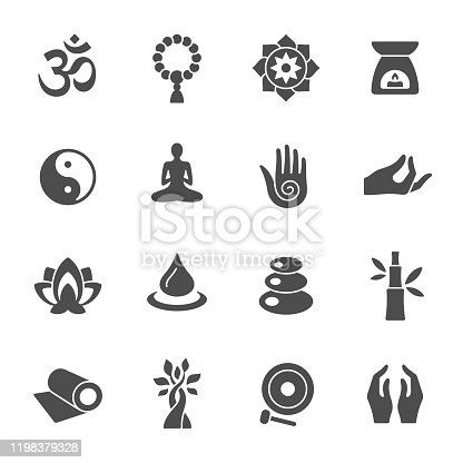 Meditation and yoga retreat vector icon set