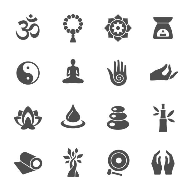 Spiritual icons Meditation and yoga retreat vector icon set meditation stock illustrations