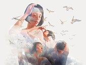 Spiritual Woman, Clouds and Birds