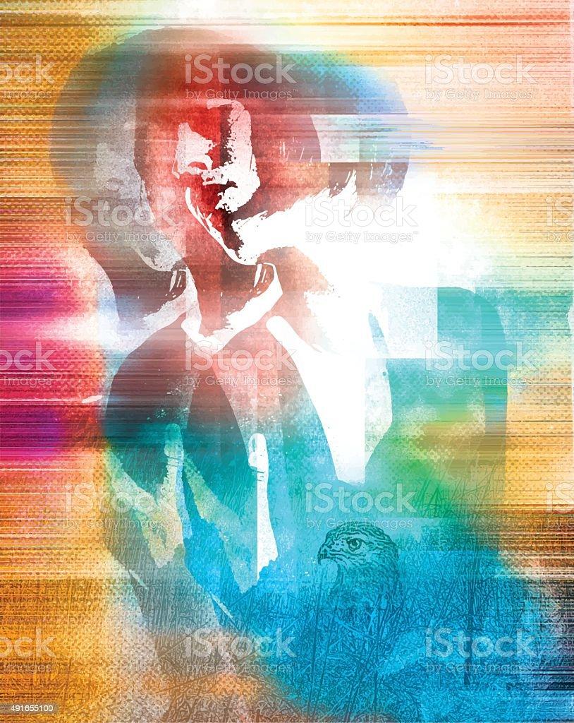 Spiritual Woman Experience Mixed Emotions vector art illustration