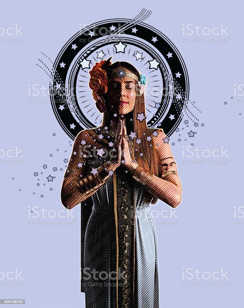 Spiritual Woman Prayer And Meditation Stock Illustration - Download