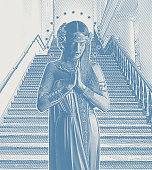 Engraving illustration of a Spiritual Woman Praying in front of staircase
