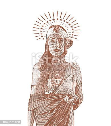 Engraving illustration of a Spiritual woman with halo