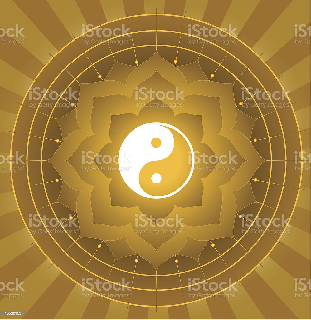 Spiritual Yin Yang On Lotus Background royalty-free spiritual yin yang on lotus background stock vector art & more images of abstract