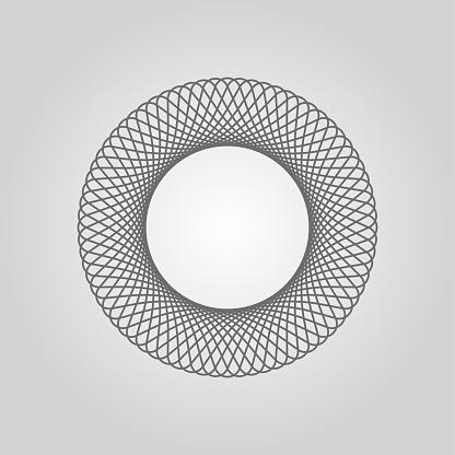 Spirograph. Circle soundwave. Structured curve pattern. Ordered waves. Cosmic waveform. Star abstraction. Vector illustration.