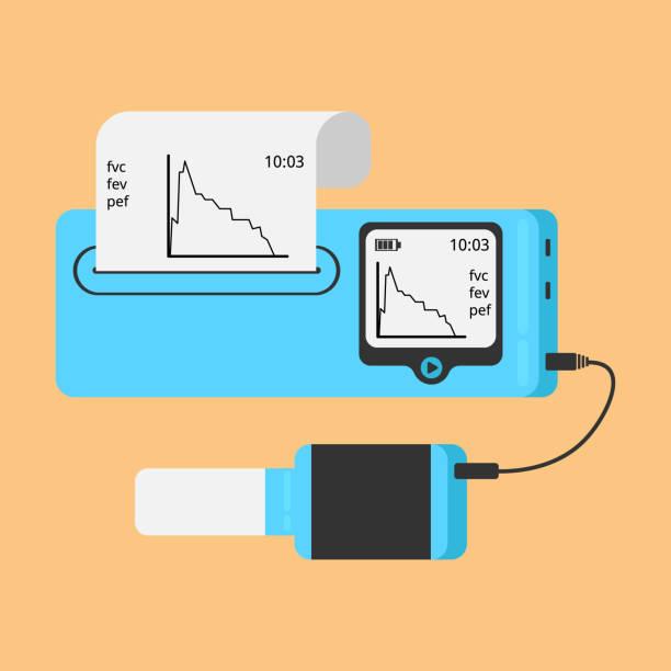 Spirometer medizinische Geräte. Das Gerät bestimmt das Volumen der Lunge. – Vektorgrafik