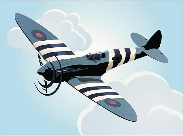 spitfire airplane - world war ii stock illustrations, clip art, cartoons, & icons