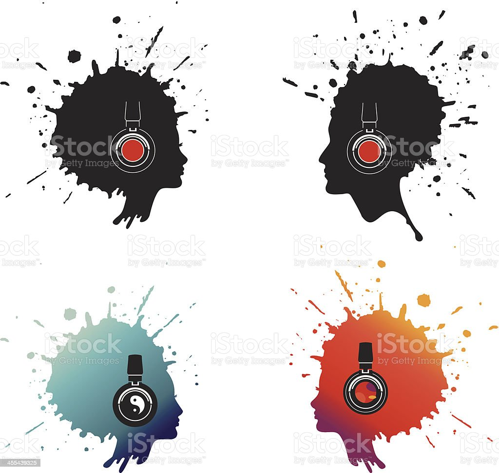 Splash head vector art illustration
