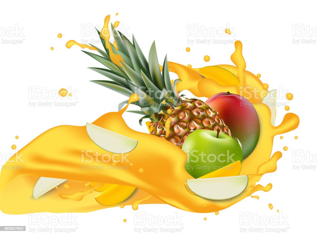 Splash of ananas juice. Mango, apple and pineapple. 3d realistic vector EPS 10. Packaging template. Brand advertising. Apple slices flowing - Royalty-free Advertisement stock vector