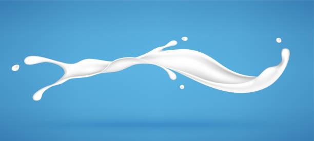 Splash of milk or cream isolated on blue background. Realistic vector illustration Splash of milk or cream isolated on blue background. Realistic vector illustration milk stock illustrations