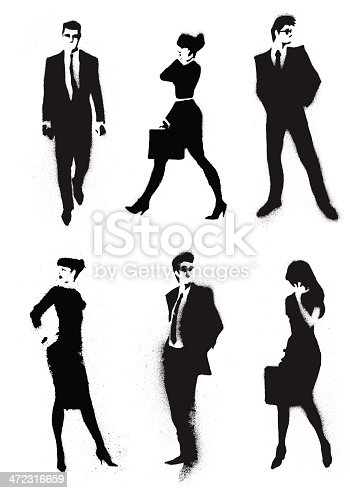 Vector Illustration of people silhouette in paint splash style