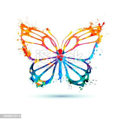 Vector watercolor butterfly icon isolated on white background
