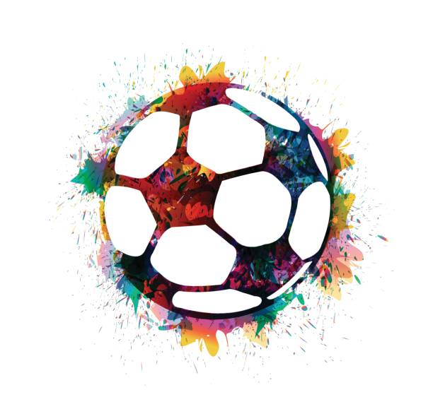 splash print fußball - fußballkunst stock-grafiken, -clipart, -cartoons und -symbole