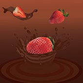Splash strawberry in chocolate realistic 3d vector. Raw strawberry fruit. Whole and slice strawberry with splashes chocolate. Concept of good nutrition, healthy food and lifestyle, Vector illustration