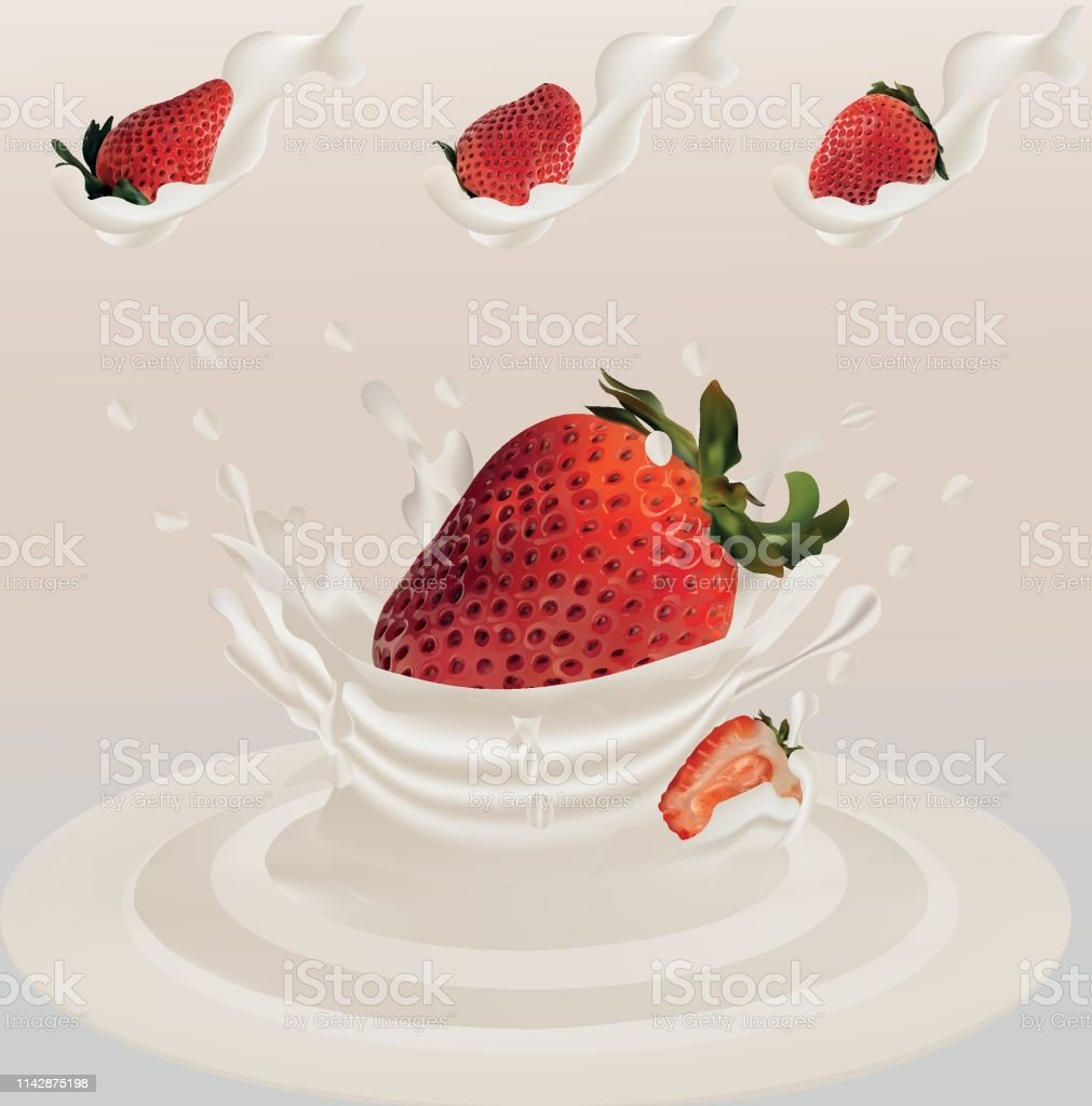 Splash Strawberry In Milk Realistic 3d Vector Raw Strawberry Fruit Whole And Slice Strawberry With Splashes Milk Concept Of Good Nutrition Healthy Food And Lifestyle Vector Illustration Stock Illustration Download Image