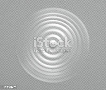 Splash water or milk, wave from drop. Pulsating circular vortex of liquid, top view.