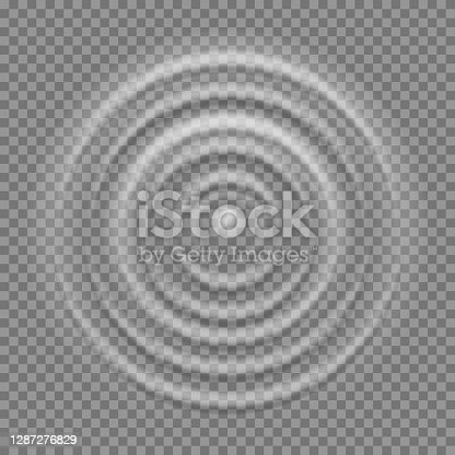 istock Splash water top view. Realistic ripple on pure liquid surface, clean macro droplet falling on aqua, round puddle 3D vector isolated circle texture template on transparent background 1287276829
