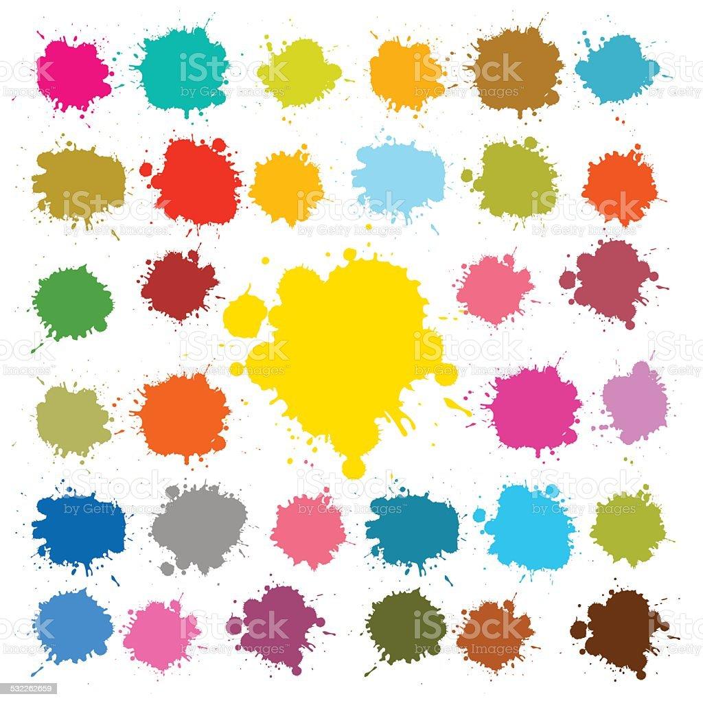 Splashes - Blots - Stains Vector Illustration vector art illustration