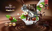 Splashes of melted chocolate and milk with falling chocolate bar in a torn wrapper and nuts, vector 3D realistic illustration. Mock up advertising poster for promoting elite chocolate