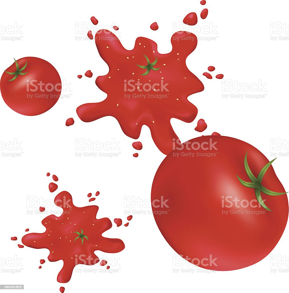 Splashes of red tomatoes on the wall. vector art illustration