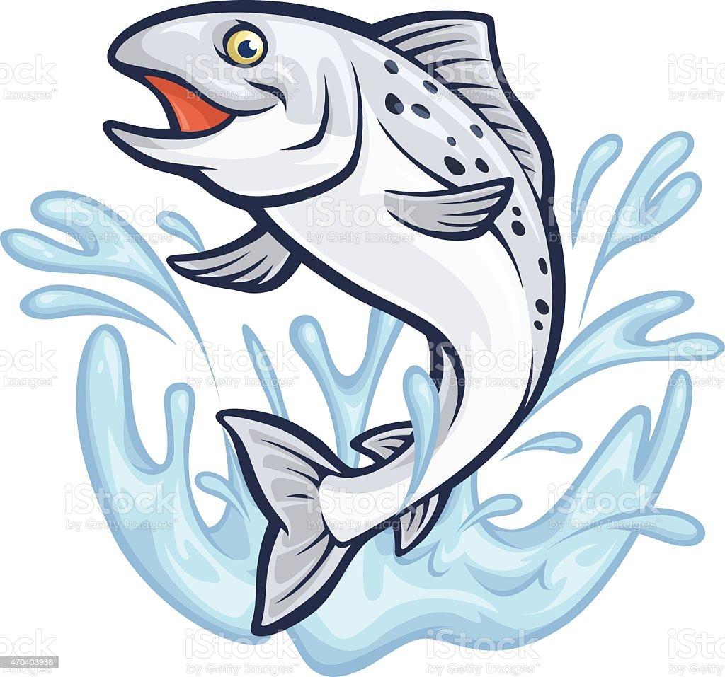 Splashin' Salmon vector art illustration