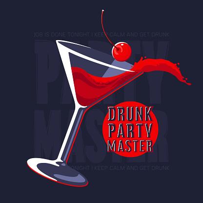 Splashing Cosmopolitan Cocktail in Martini glass vector illustration