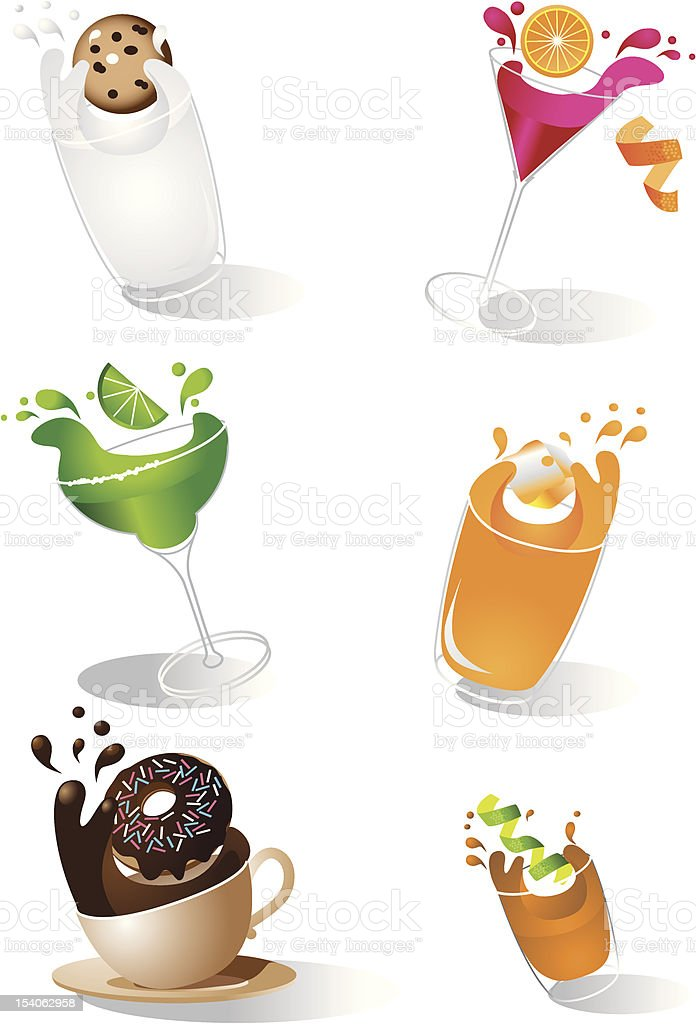 Splashing Drinks Icons vector art illustration
