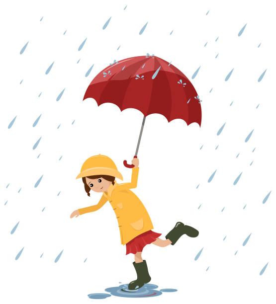 splashing girl - kids playing in rain stock illustrations, clip art, cartoons, & icons