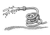 Hand-drawn vector drawing of a Splashing Hosepipe, Gardening Equipment. Black-and-White sketch on a transparent background (.eps-file). Included files are EPS (v10) and Hi-Res JPG.