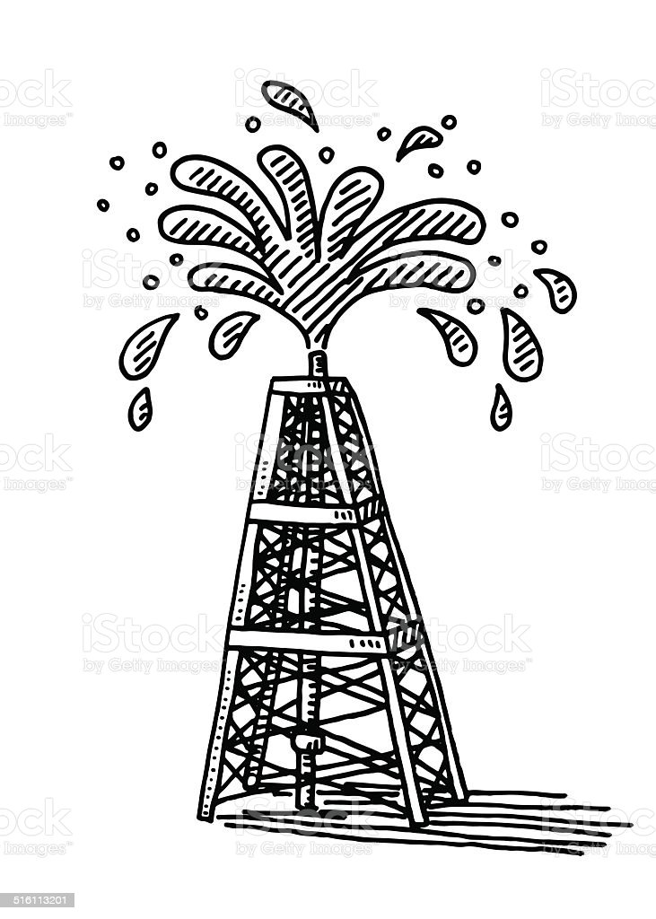 Splashing Oil Derrick Drawing Stock Vector Art  U0026 More