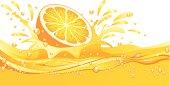 Fresh Orange Dropped into Juice. ZIP contains AI format, PDF and jpeg XXXLarge.