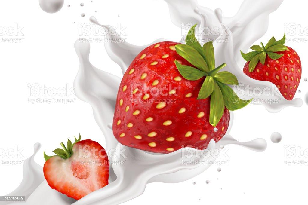 Splashing strawberry yogurt splashing strawberry yogurt - stockowe grafiki wektorowe i więcej obrazów bez ludzi royalty-free
