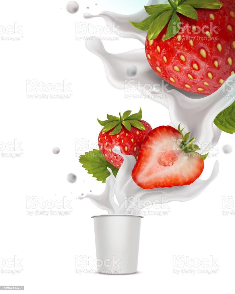 Éclaboussures fraise yaourt - clipart vectoriel de Aliment surgelé libre de droits