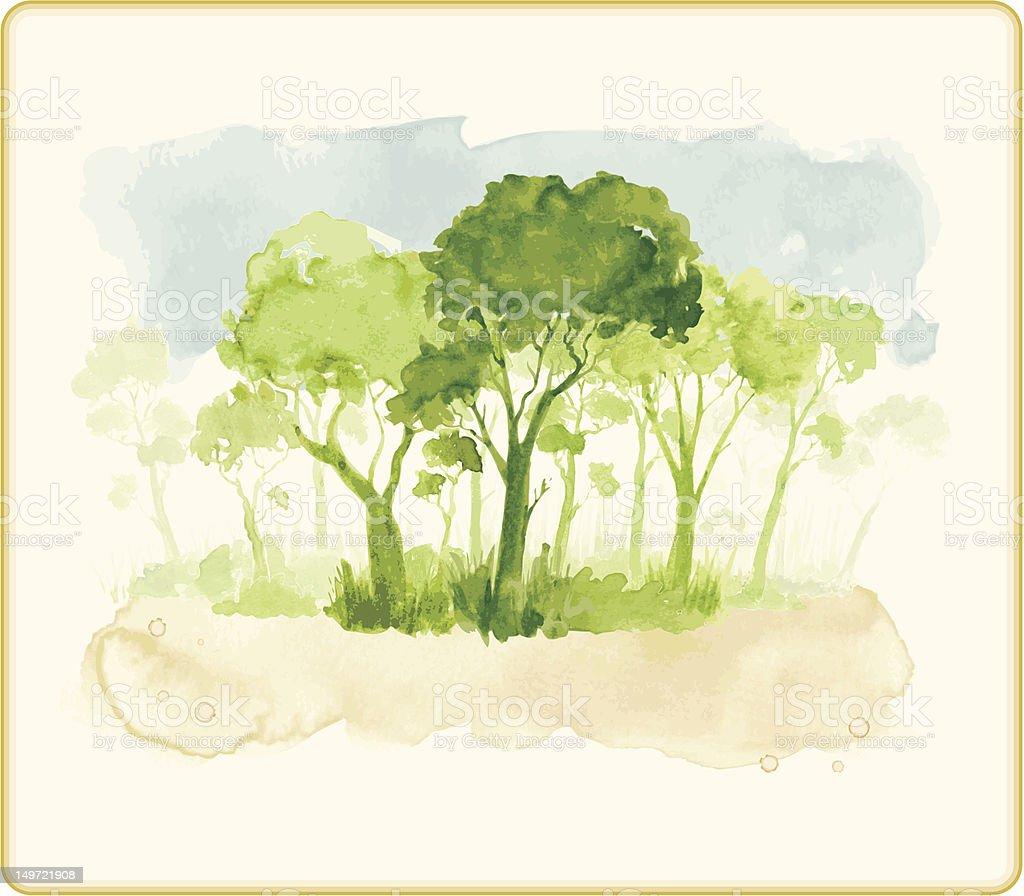 Splashy Green Forest royalty-free stock vector art